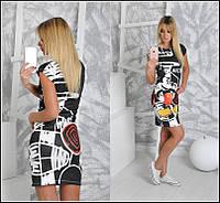 Облегающее платье мини с ярким рисунком