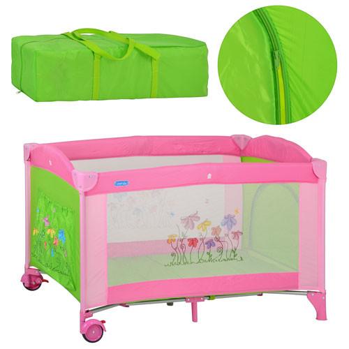 Манеж-кровать Bambi M 2238 цветы зелено-розовый