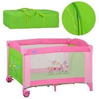 Манеж-кровать Bambi M 2238 цветы зелено-розовый , фото 1