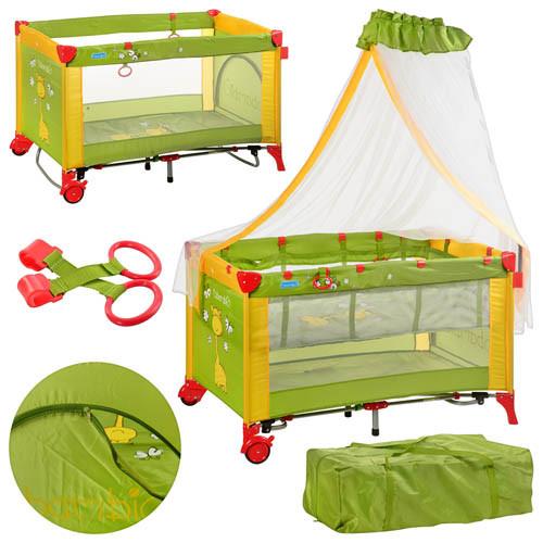 Манеж-кровать Bambi M 2707 жирафик зелено-желтый
