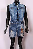 Укороченная женская джинсовая жилетка