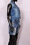 Укороченная женская джинсовая жилетка, фото 2