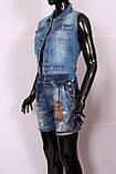 Укороченная женская джинсовая жилетка, фото 3
