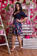 Платье короткое с декольте цветочный принт 3005 Батал! (НАТ)