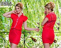 Платье короткое с планкой и гепюровой спинкой с360 (ГЛ)