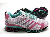 Кроссовки Женские Adidas Bounce Flyknit бело-розовые