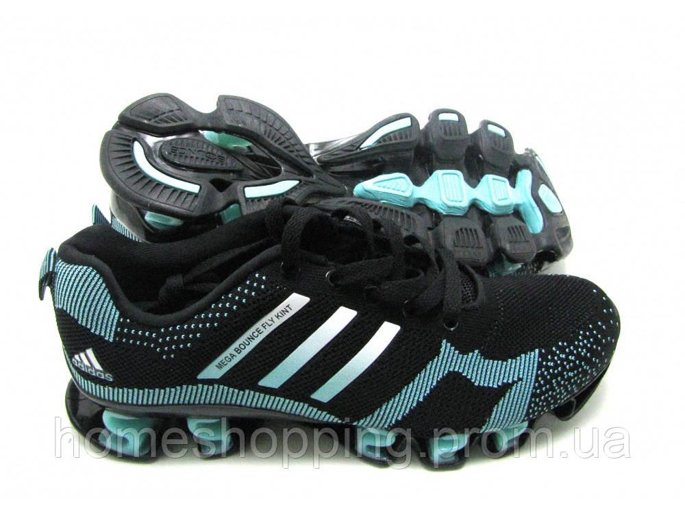 Кроссовки Женские Adidas Bounce Flyknit черно-бирюзовые