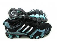 Кроссовки Женские Adidas Bounce Flyknit черно-бирюзовые, фото 1