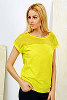 Футболка женская желтая с сеточкой M. L 100%хлопок