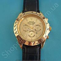 Часы Rolex 114009 мужские золотистые на черном ремешке из кожзама с календарем