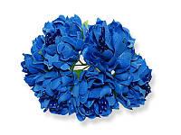 Букет декоративных цветочков — Хризантема, цвет синий, 4 см, 3 шт