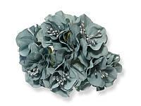 Букет декоративных цветочков — Пеларгония, цвет серый, 4 см, 3 шт