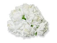 Букет декоративных цветочков — Хризантема, цвет белый, 4 см, 3 шт