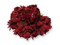 Букет декоративных цветочков — Хризантема, цвет бордовый, 4 см, 3 шт