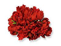 Букет декоративных цветочков — Хризантема, цвет красный, 4 см, 3 шт