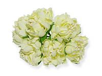 Букет декоративных цветочков — Хризантема, цвет кремовый, 4 см, 3 шт
