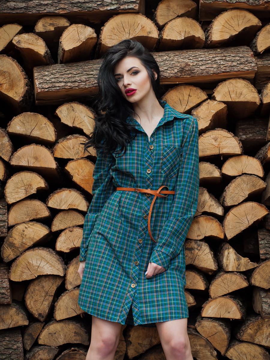 Женское платье-рубашка с длинным рукавом и  поясом