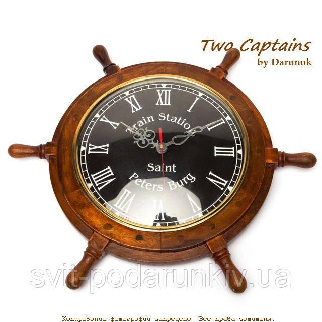 Часы настенные в виде штурвала корабля