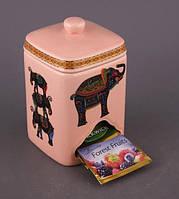 """Банка для чайных пакетиков """"Индийский слон"""" розовая"""