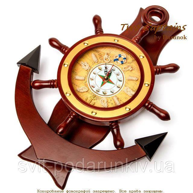 """Часы  со штурвалом настенные деревянные """"Якорь"""" 1024-818A"""