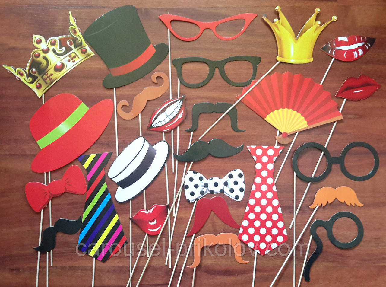 Фотобутафория классика губки, усы, очки, галстуки,шляпки, бабочки, короны  25 предметов