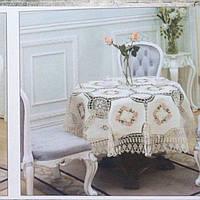Скатерть вязаная льняная с цветочной вышивкой круглая