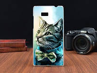 Силиконовый чехол накладка для HTC Desire 600 с картинкой кот, фото 1