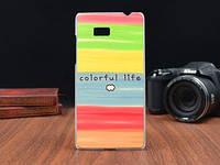 Силиконовый чехол накладка для HTC Desire 600 с картинкой разноцветная жизнь