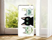 Силиконовый чехол накладка для HTC Desire 600 с картинкой три кота, фото 1