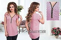 Рубашка женская на молнии принт сердечки