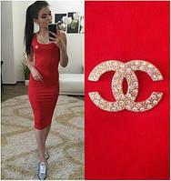 """Женское Платье - майка длинное """"Chanel"""" р. 42,44,46,48 - красное"""