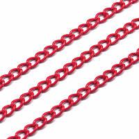 Цепь с Гальваникой, Витое Плетение, Железная,Цвет: Красный, Звено: 5х3мм, Толщина 1мм, (УТ0029106)