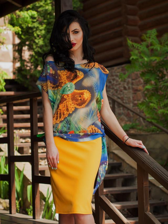 Нарядное женское летнее платье с шифоновой накидкой
