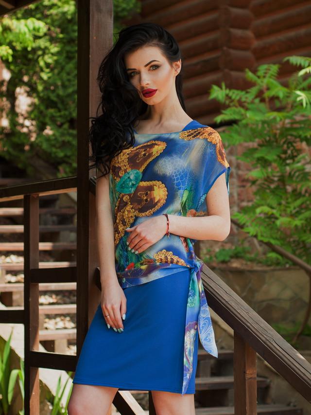 Очень стильное женское летнее платье с шифоновой накидкой