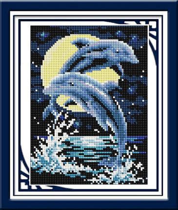 """Набор алмазной живописи """"Дельфины"""", фото 2"""