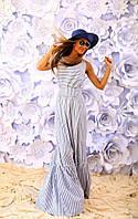 """Длинное летнее платье-сарафан в полоску """"Sabrina"""" с поясом и оборками (2 цвета)"""