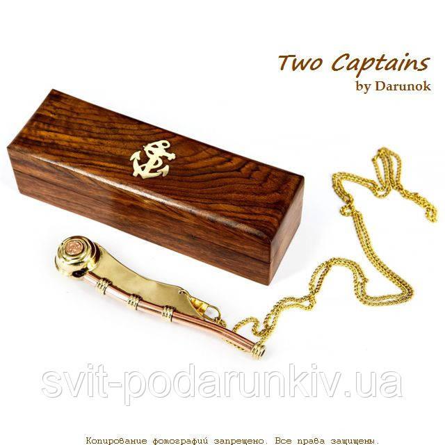 Боцманский свисток из латуни в подарочном деревянном футляре S2349