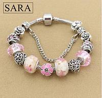 Женский браслет в стиле Pandora розовый