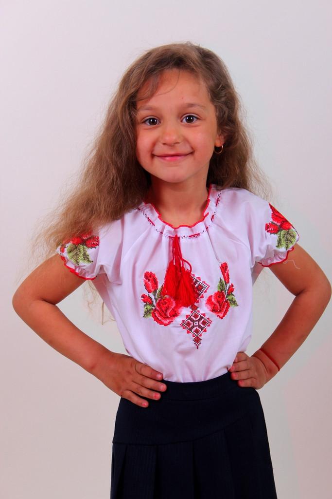 """Детская вышитая блуза """"Зорянка"""" - материал поплин (короткий рукав)"""