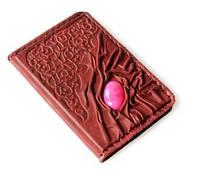 Оригинальная кожаная обложка для паспорта с камнем Агат