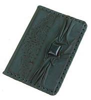 Качественная кожа, вставка - камень яшма - обложка на паспорт