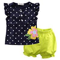 Наборы летней одежды для девочек 1-3 года, шорты и футболка / топ
