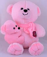Мягкая игрушка Медведь с ребенком 35см  (розовый)