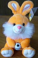 Мягкая игрушка озвученная Заяц с мячем