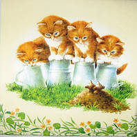 """Салфетка для декупажа """"Котята и мышки"""", размер 33*33 см, трехслойная"""