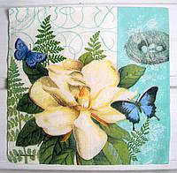 Салфетка для декупажа Цветок&Бабочки 33*33 см, 1 шт