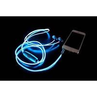 Наушники со светящимися проводами MDR 619 с микрофоном Голубые