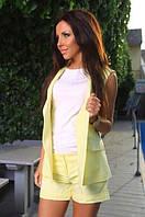 """Летний деловой женский костюм """"Erika"""" с шортами и жакетом без рукавов (2 цвета)"""