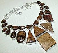 Колье, ожерелье из натуральных камней - БРОНЗИТ