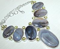 Необыкновенное Колье, ожерелье из натуральных камней - АГАТ, ЛИМОННЫЙ КВАРЦ